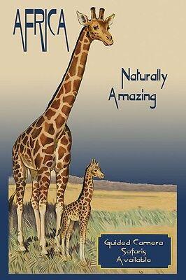 Africa Safari Mother Baby Giraffe Travel Tourism Vintage Poster Repro FREE S/H