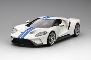 Haute vitesse Ford Gt Frozen White - Rayure Bleu Foncé 1/18