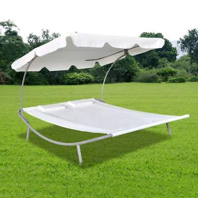 vidaXL Tumbona Doble Colores Marrón/Blanca de Exterior con Parasol y 2 Almohadas