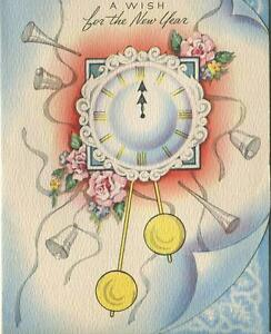 VINTAGE CLOCK CHIMES HORNS BELLS MIDNIGHT HOUR NEW YEAR YEARS EVE CARD ART PRINT