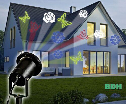 LED Strahler Projektor Lichtspiel Hauswand rotierend Beamer Licht Wandstrahler