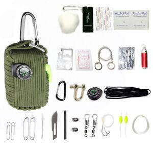 29-Werkzeug-Survival-Kit-550-Paracord-Handgranate-EDC-Outdoor-Fischen-Camping-Oliven-Gelbbraun