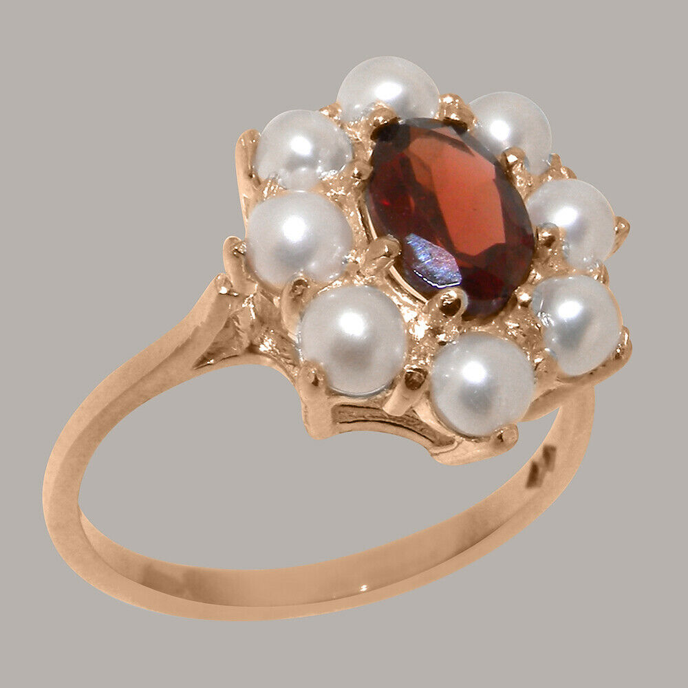 9ct pink gold Natural Garnet & Full Pearl Womens Cluster Ring - Sizes J to Z