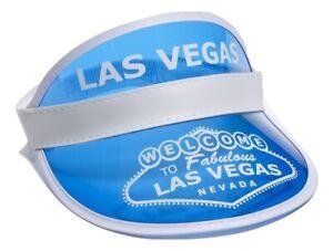 Blue Las Vegas Poker Dealer Bingo Plastic Clear Visor Hat Fear & Loathing