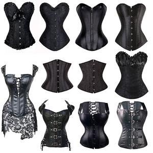 Neu-Schwarz-Dessous-Burlesque-Corsage-Vollbrust-Korsett-Korsage-Damen-Gothic-BS