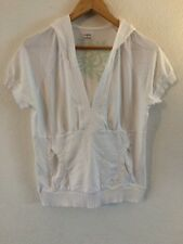 H&M White Top Hooded Jersey V Neck Short Sleeve Size L  12/14 <R3238