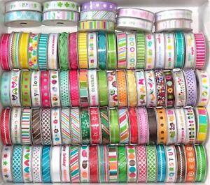 American-Crafts-Grosgrain-amp-Satin-Ribbon-Spool-1cm-wide-x-1-2m-Various-Designs