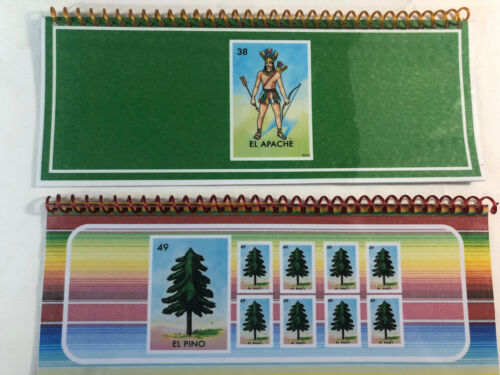 Notebook Mexican Loteria Bingo Chalupa Game:12 Mini-Boards  Laminated