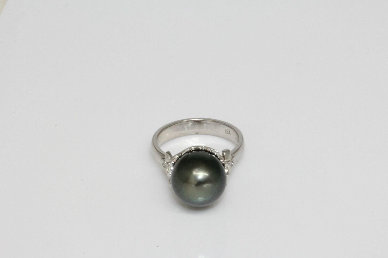 Tahitiana Perla Anello Diamante 18 Kt 11 mm mm mm Nero 8bf0a3