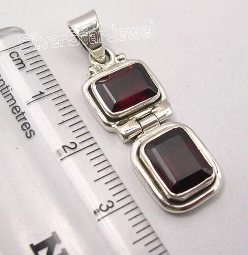 "925 Solid Silver Dazzling Genuine RED GARNET 2 GEM MADE IN INDIA Pendant 1.3/"""