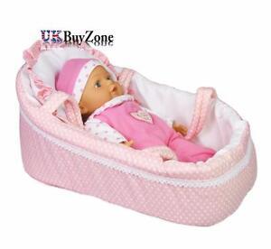 bebe-rose-poupees-Landau-Lit-avec-oreiller-transport-Poignees-couchage-sac