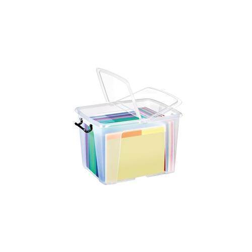 HW674CLR Strata Smart Box Clip-On Folding Lid Carry Handles 40 Litre Clear