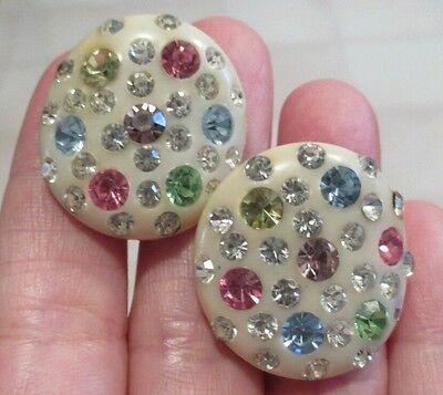 Vintage Bakelite Earrings Catalin Multi-colored Rhinestone Clip On Creme Button