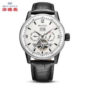 Seagull-Men-039-s-Automatic-watch-Multifunction-Flying-wheel-Black-Steel-Sapphire
