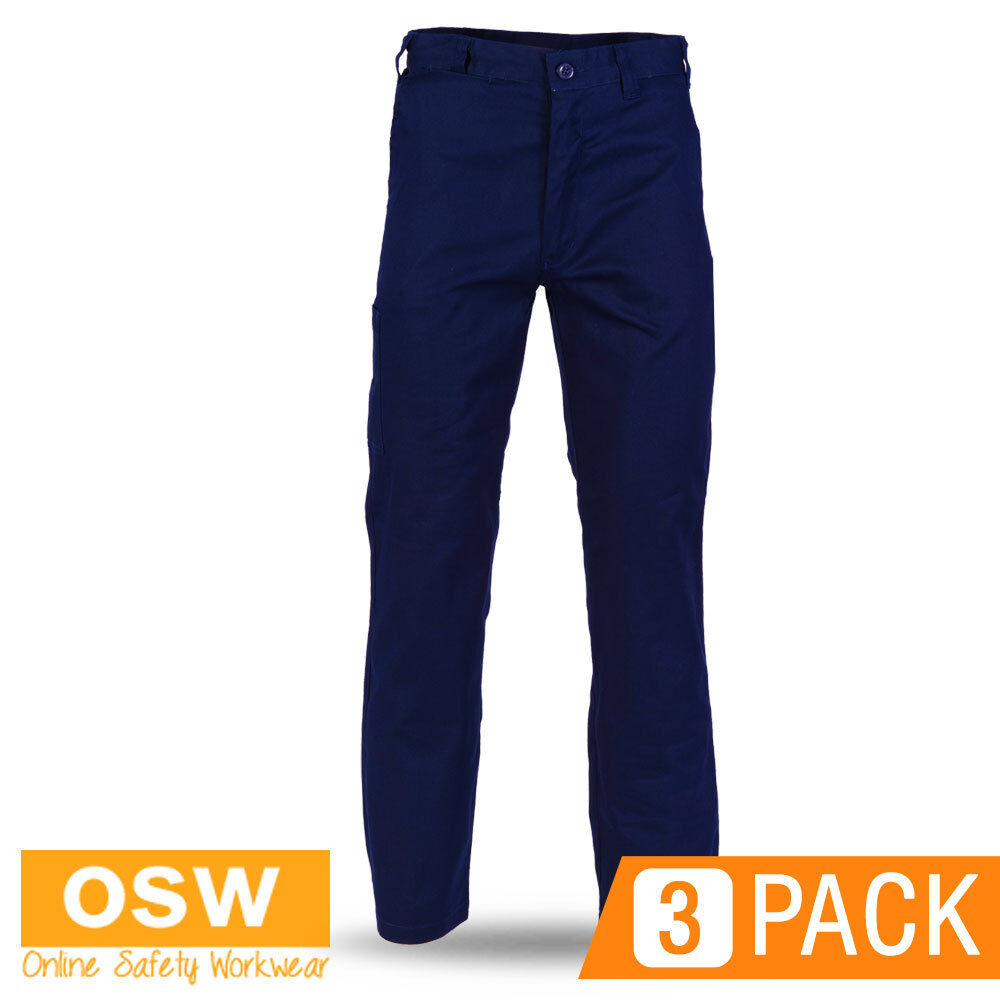 3 X MENS NAVY LIGHT WEIGHT SAFETY TRADIES COTTON DRILL WORK TROUSER PANTS