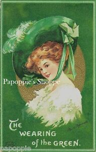 St-Patrick-039-s-Day-Fabric-Block-Vintage-Postcard-on-Fabric-Clapsaddle-Victorian