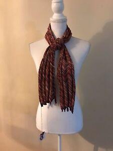NWT-Sophie-Digard-Handmade-Chevron-Crochet-Scarf-Warm-Colors-54X-12-034-138X-31cm