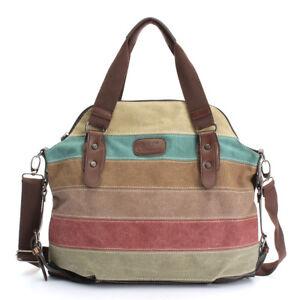 Fashion Women Stripe Canvas Handbag Shoulder Messenger Crossbody Bag Tote Purse
