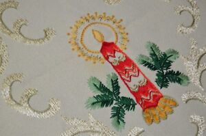 AN ORNATE CHRISTMAS WITH CANDLE & PEARLIZED SCROLLWORK! VTG GERMAN WOOL RUNNER