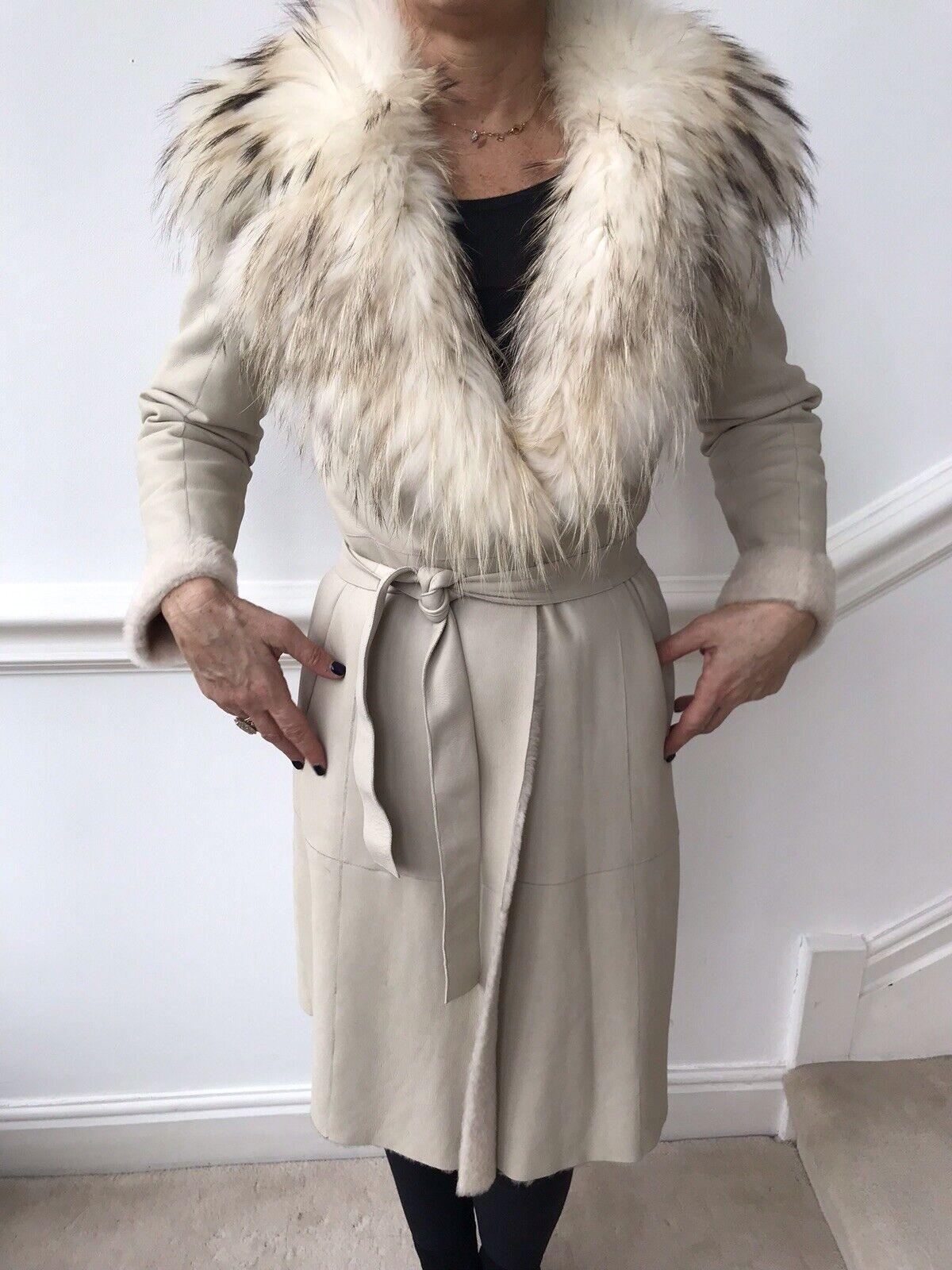 MARC CAIN Cream Lambskin Leather Fur Lined Raccoon Fur Collar Coat Size N2