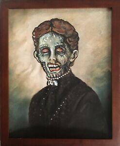 Antique Vintage Victorian Zombie Girl Dead Lady Undead Woman Folk Art Painting