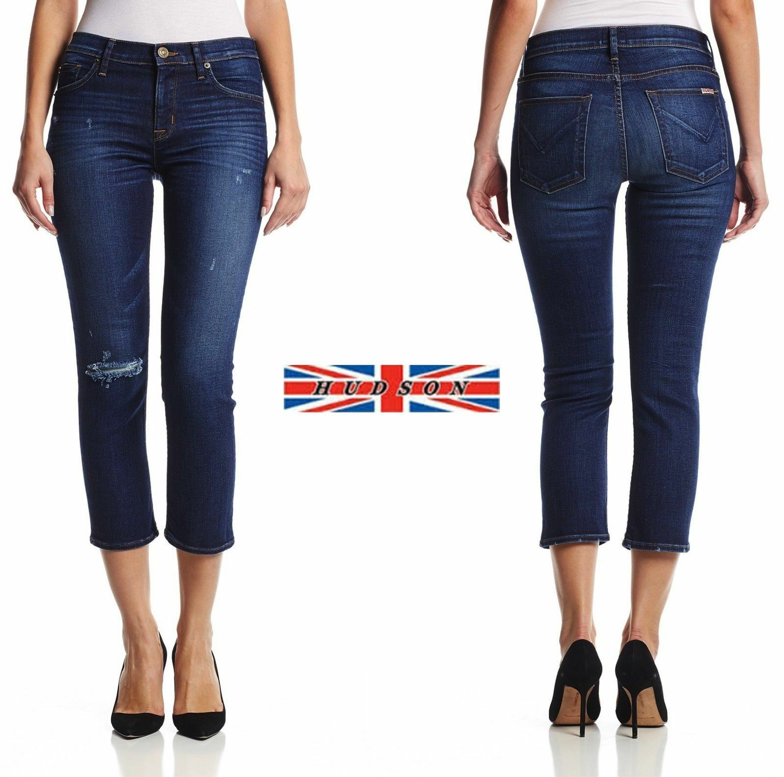 Hudson Fallon Crop Straight distressed Stretchy Jeans in Offshore sz.28 NWT