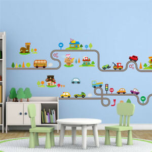 Details about Cartoon Cars Highway Track Wall Stickers Children Bedroom  Decor Wall Art Decals