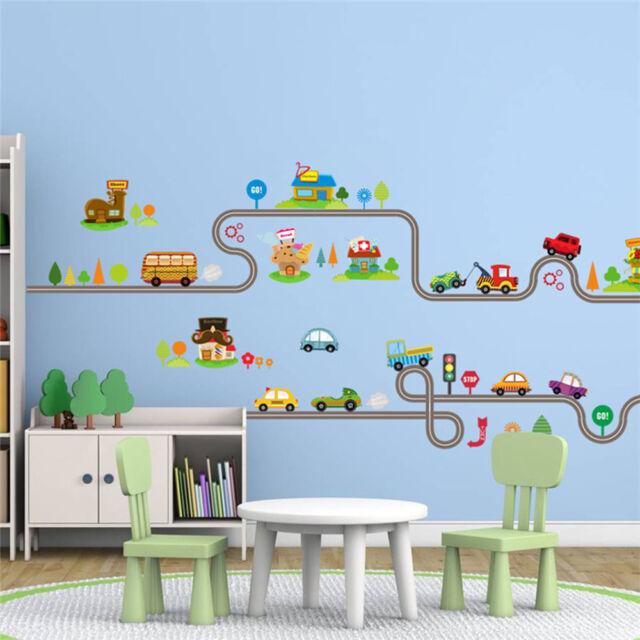 Cartoon Cars Highway Track Wall Stickers Kids Bedroom Decor Wall Art Decals