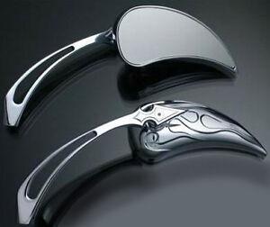 Motorcycle Chrome Spear Stem Mirrors Set 2pc - For Custom Chopper Honda Fury