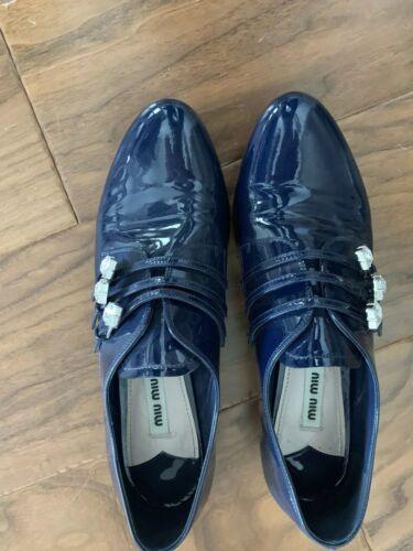 Miu Miu Patent Leather Navy Shoes With Rhinestone