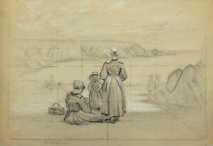 Drawing-Pierre-Black-and-Chalk-White-1913-Focus-Unit-Tile-Brittany-Bridge-Aven