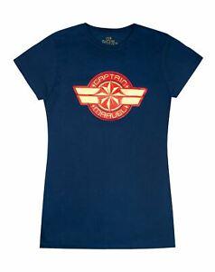 Marvel-Captain-Marvel-Logo-Women-039-s-Navy-Short-Sleeve-T-Shirt