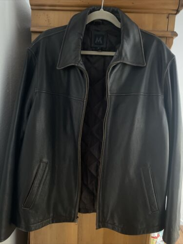 mens large brown leather bomber jacket