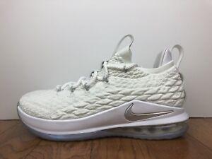 """36566b19fcaa Men s Nike Lebron XV 15 Low """"White"""" Size-10 White Metallic Silver ..."""
