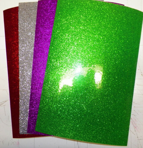 "Vinyl self adhesive glitter flake 6/""x9/""x5mil 4 sheets 4 colors your choice"