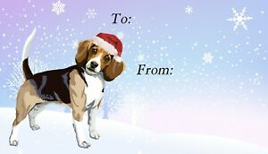 Beagle-Dog-Christmas-Labels-Set-of-42-by-Starprint-Peel-off-Self-adhesive