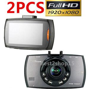 "2X 1080P 2.3""HD Car DVR Vehicle Dash Camera Crash Cam G-sensor Night Vision HDMI"