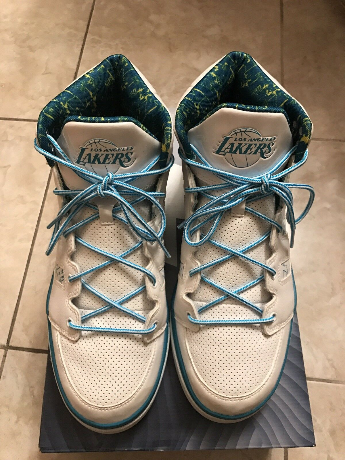 ADIDAS LA LAKERS NBA Rare  Size 11 Lux 8-bit Teal White Basketball shoes Kobe