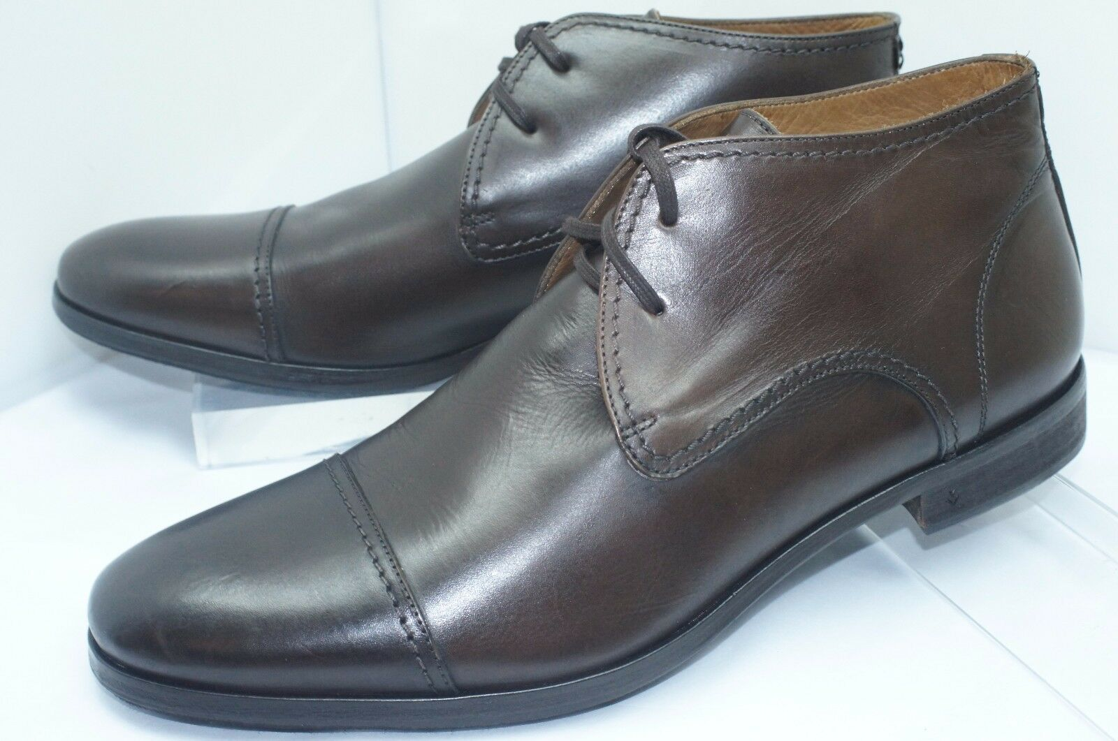 New John Varvatos Men's Boots Ago Chukka shoes Size 12 Brown Leather