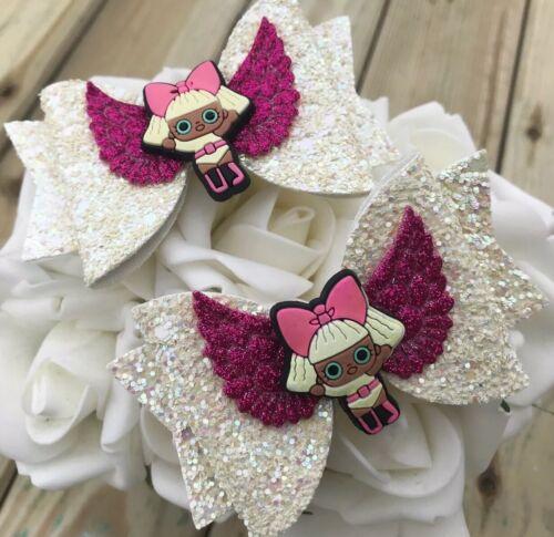"Girls Glitter Bow Clip Set LOL Surprise Dolls Off White /& Hot Pink Sparkle 3.5"""