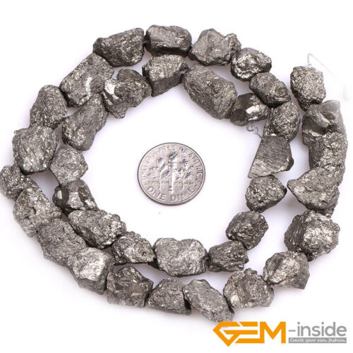 """Natural Silver Gray Pyrite Gemstone Freeform Loose Beads For Jewelry Making 15/"""""""