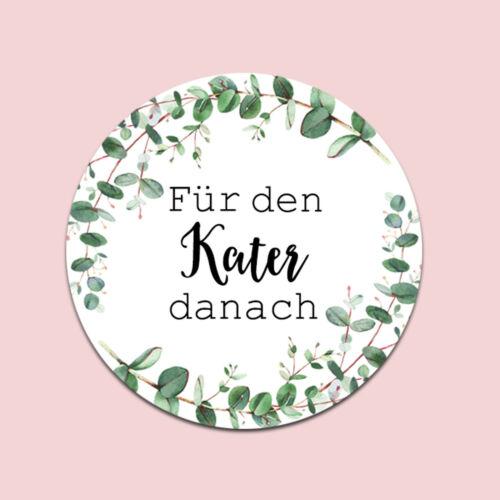 """50 Sticker /""""Kür den Kater danach/"""" EUCALYPTUS Hochzeit Gastgeschenk Hangover Kit"""