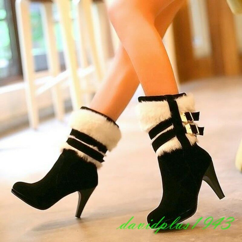 Fashion Womens Faux Suede Round Toe Pull On Winter Warm Mid Calf Boots shoes New