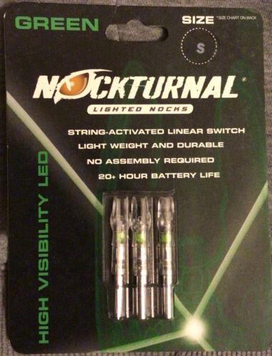 Nockturnal Lighted Nocks  3 pk NEW 20+ hrs battery life Green LED Size S