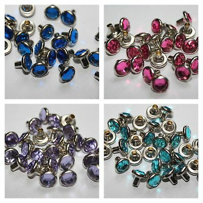 7mm 10//50pcs Diamante Crystal Rivet for DIY Bag Shoes Belts Clothing Decoration
