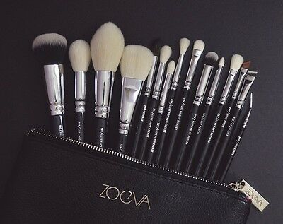 ZOEVA Complete Face & Eye Brush Set 100% Auth 15 Piece And Zip Case