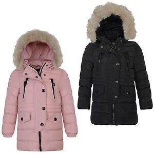 b200b41ed7bd Girls Cotton Down Quilted Winter Jacket Kids Detach Trim Long Zip ...