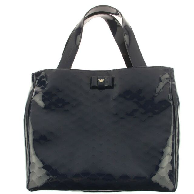 8f7fe856cc0e NWT NEW Armani Junior girls navy patent eagle logo branded bow tote hand bag