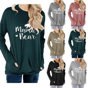 Women-039-s-Long-Sleeve-Mama-Bear-Sweatshirt-Pockets-Casual-Loose-Tunic-Blouse-Tops