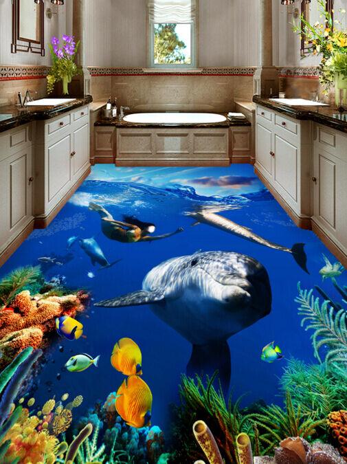 3D Delfín Pez Mar 83 Piso Parojo Murales Papel Pintado Parojo impresión AJ Reino Unido Limón